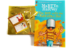 The Boy with the Saucepan Hat by Martyn Harvey pre-wrapped (Gold Foil & Bow)