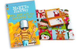 The Boy with the Saucepan Hat by Martyn Harvey pre-wrapped (Santa with Reindeer)